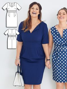 With the slightly flared lower skirt hem and the wide, elaborately topstitched band at the waist, the curves are ladylike in all the right places. Elbow-length sleeves cleverly cover the upper arms and transform this style to a perfect look for the office. #burdastyle #sewing #pattern #sew #diy