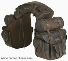 Complete, unique saddle bag, ideal for trekking riders and long riders. The saddle consists of a saddle bag with six pockets and quick release, long inner ties for a more secure closure, one cantle bag and two round saddle bags which can be detached and Riding Gear, Horse Riding, Motorcycle Gear, Retro Motorcycle, Motorcycle Style, Leather Projects, Horse Tack, Horse Saddle Bags, Horse Saddles
