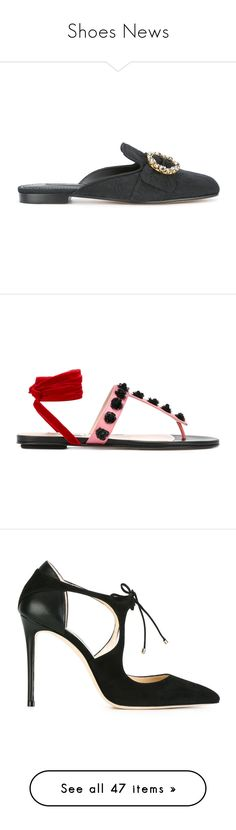 """""""Shoes News"""" by tessabit ❤ liked on Polyvore featuring shoes, black, embellished shoes, black mules, black shoes, embroidered shoes, decorating shoes, sandals, flip flops and pink"""