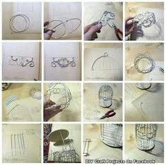 ideas for wire bird cage metals Diy Bird Cage, Bird Cages, Wire Crafts, Diy And Crafts, Arts And Crafts, Cage Deco, Wire Art, Wire Jewelry, Craft Projects