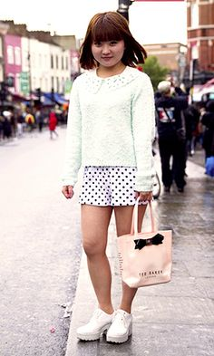 Ning looks super cute in pastels. The Hottest Street Style: May 2014