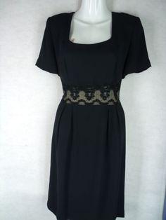 DONNA MORGAN black square neck nude illusion waist dress 8