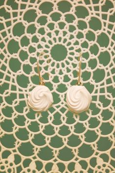 Ready To Ship: White Rose Earrings // by SweetMudClayWorks on Etsy