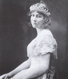 Princess Eugenie, Princess Marie Bonaparte's only daughter, wearing a diamond and pearl, or possibly coral beads, tiara when she was a teenager