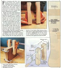 F-Clamp Extensions - Clamp and Clamping Tips, Jigs and Fixtures   WoodArchivist.com
