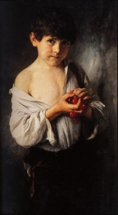 Boy with cherries By Nikolaos Gyzis, Greek painter. Figure Painting, Painting & Drawing, Watercolor Paintings, Greece Painting, Street Art, Art Database, Oeuvre D'art, Contemporary Artists, Les Oeuvres