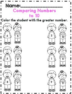 Comparing numbers practice for first grade
