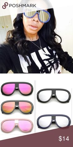 Sunglasses Oversize Chunky Teardrop .....THE COLORS I HAVE ARE: BLACK FRAMES WITH MIRROR LENS, BLUE FRAMES ITH MIRROR LENS, GRAY FRAMES WITH COLOR MIRROR LENS....JUST LET ME KNOW WITCH COLOR YOU WANT Accessories Sunglasses