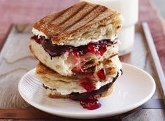 Chocolate Cream Cheese Panini Bites by Ellie Krieger: Warm, mini sandwiches made with ciabatta or other Italian bread, low fat cream cheese, bittersweet chocolate and raspberry jam.