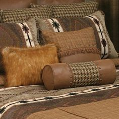 Go to Lone Star Western Decor currently and look at our supply of Western bedding, like this Apache Neckroll! Western Bedroom Decor, Western Bedding, Western Decor, Western Bedrooms, Painted End Tables, Stairs In Living Room, Black Forest Decor, Luxury Cabin, Buy Sofa