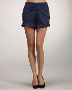 Amy says: These navy shorts make a great Spring/Summer short but also a great Fall short as well because you can wear tights under. The ruffles add a little girly and playful aesthetic as well. Fall Shorts, Summer Shorts, Great Falls, Ruffles, Amy, Tights, How To Make, How To Wear, Girly