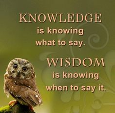 Wisdom Quote - Difference Between Knowledge and Wisdom. Knowledge is knowing what to say and Wisdom is knowing when to say it. Owl Quotes, Wise Quotes, Quotable Quotes, Great Quotes, Words Quotes, Motivational Quotes, Inspirational Quotes, Humorous Quotes, Owl Sayings