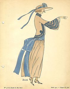 Date: 1922    Description: Brown dress with blue trimmings and sash