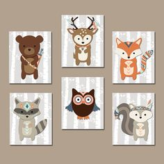 WOODLAND Nursery Wall Art Tribal Animal Artwork Birch by TRMdesign