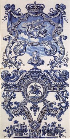 Most Royal Delft : Delftware tiles with bust of William III of England
