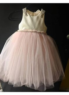"Metallic gold top with pouffy blush tulle skirt ""Chloe"",special occasion dress , birthday, photoshoo Blush Tulle Skirt, Blush Dresses, Flower Girl Dresses, Wedding Dresses, Tea Length Skirt, Chloe Dress, Fairy Dress, Gold Top, Custom Dresses"