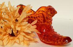 Fenton Amberina Orange Hobnail Glass Shoe with Cat by RenewedFinds, $9.99