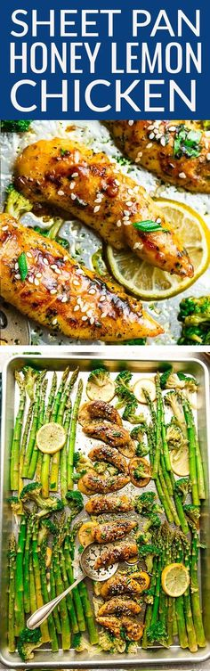 Sheet Pan Honey Lemon Chicken – the perfect easy meal for busy weeknights. Best of all, made with tender and juicy chicken, asparagus and broccoli coated in a sweet and savory sauce. A 30 minute meal with low carb, keto and paleo options plus Sunday meal prep tips for work or school lunch boxes. #sheetpan #chicken #spring #asparagus #honey #lemon #mealprep #lowcarb #keto #paleo #options