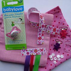 KIT naissance - 2 langes + attache tétine - DIY : Kits, tutoriels Couture par pikebou