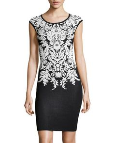 Jacquard Cap-Sleeve Dress, Black-White by Line at Neiman Marcus Last Call.  Sale $69.50