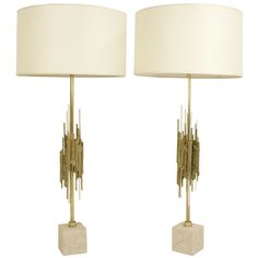 Angelo Brotto; Gilded Brass, Bronze and Glass 'Pythagore' Table Lamps for Esperia, c1970.