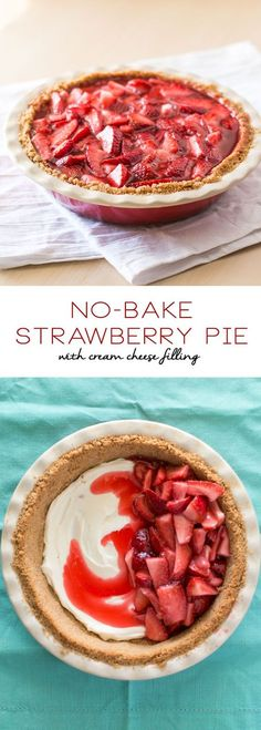 No-Bake Strawberry Pie with Cream Cheese Filling | Strawberry Recipe for Kids