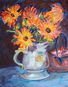 """Daily Paintworks - """"Calendula 1"""" - Original Fine Art for Sale - © Mary Schiros"""