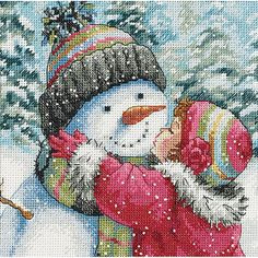 "Dimensions Gold Collection Petite ""A Kiss for a Snowman"" Counted Cross Stitch Kit, 6"" x 6"""