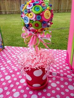 "Button topiaries I did for a ""Cute as a Button"" themed birthday party"