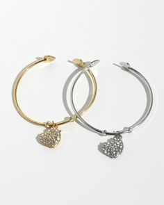 Fits little wrists!  Ages 4-8 years.  Petite Heart Bangles.  Rhinestones on front, heart cut outs on back.