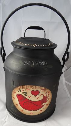 Black Painted Vintage MILK CREAM Canister Can Folk Art Signed (Bin 14) #Eclectic