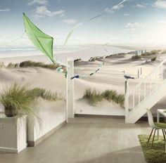 vlies fotobehang houten hek op strand. Black Bedroom Furniture Sets. Home Design Ideas