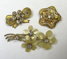 *SOLD* Brooch Lot  Three Antique & Vintage Rhinestone by lifeintheknife, $24.99