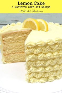 This Lemon Cake Recipe from a doctored cake mix is the BEST! Ultra moist, delici… This Lemon Cake Recipe from a doctored cake mix is the BEST! Ultra moist, delicious lemon flavor, and so. The Cake Mix Doctor, Doctor Cake, Lemon Layer Cakes, Lemon Cupcakes, Lemon Cake Mixes, White Cake Mixes, Food Cakes, Cupcake Cakes, Best Lemon Cake Recipe