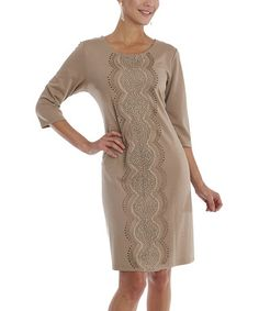 Look what I found on #zulily! Taupe Shimmer Embellished Scoop Neck Dress - Women & Plus #zulilyfinds