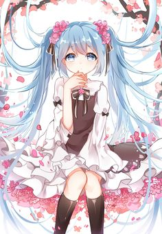 1848066491 1girl blue_eyes blue_hair dress flower hair_flower hair_ornament hair_ribbon hatsune_miku highres kneehighs long_hair looking_at_viewer petals ribbon sitting solo twintails very_long_hair vocaloid white_background