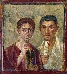 La mujer romana a comienzos del Imperio (Retrato de TERENCIO NEO y su mujer. Fresco pompeyano conservado en el Museo Arqueológico Nacional de Nápoles.)