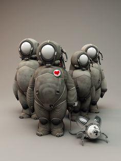 Zamak Robots by Oliver Bucheron 3d Character, Character Concept, Concept Art, Monster Art, Vinyl Toys, Vinyl Art, Art Jouet, Art Steampunk, Steampunk Drawing