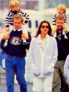(l to r)  Handsome Stefano Casiraghi with son Andrea, Beautiful Princess Caroline of Monaco, Stefano's brother Danielle Casiraghi with niece Charlotte Casiraghi.  circa 1988.-