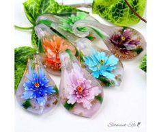 Tropfen  Kette Glas Kunst Blüten bunt verschiedene Farben...