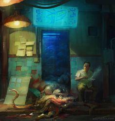 Any Leftovers?  #art #artursadlos #food #meat #creature #china #street #streetfood #funny #monster #digitalpainting