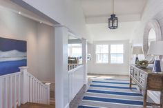 Molly Frey Design | midcentury modern renovation, front entry, blue and white, shiplap