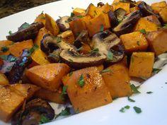 Roasted Sweet Potatoes and Mushrooms