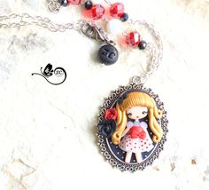 collana pin-up  / polymerclay / zingaracreativa / clay / doll fimo di ZingaraCreativa su Etsy
