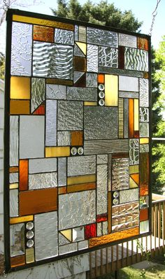 "Mission Style Clear, Amber & Red- 18"" x 24""--Stained Glass Window ..."