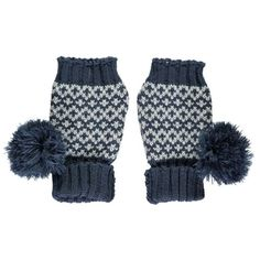 Miss Pom Pom  Navy Graphic Fingerless Gloves: These Miss Pom Pom Knitted Navy Graphic Fingerless Gloves have a grey and white jacquard knit section, a chunky navy ribbed hem, navy tip and playful navy pom poms!  Wrist warmers are ideal for covering up when it's too cold to bear, so better to do it style! Great for adding a pop of colour on a dreary day.  The Miss Pompom collections feature chunky knits and modern designs with geometric prints and striking colours.  These fingerless gloves…