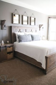 Most Beautiful Rustic Bedroom Design Ideas. You couldn't decide which one to choose between rustic bedroom designs? Are you looking for a stylish rustic bedroom design. We have put together the best rustic bedroom designs for you. Find your dream bedroom. Modern Farmhouse Bedroom, Farmhouse Master Bedroom, Modern Bedroom, Rustic Farmhouse, Bedroom Rustic, Trendy Bedroom, Farmhouse Bedroom Furniture, Master Bedroom Furniture Ideas, Modern Bedding