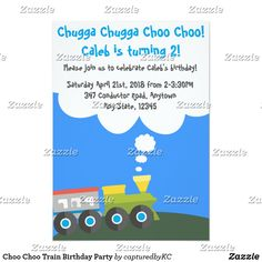 Choo Choo Train Birthday Party invitation #birthdayparty #trains #kidsbirthday #invitations