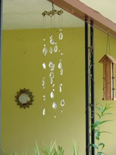 Simple DIY Outdoor Chandelier with crystal beads