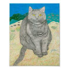Irina The Cat At The Pinnacles Poster » Sweetbearies Art Workshop